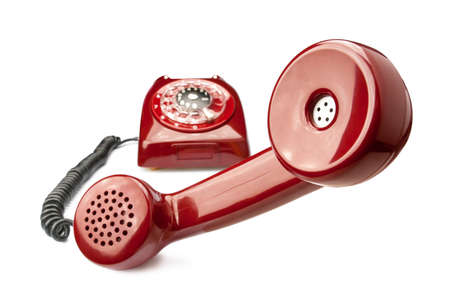 dialplate: Red old phone isolated on white background Stock Photo