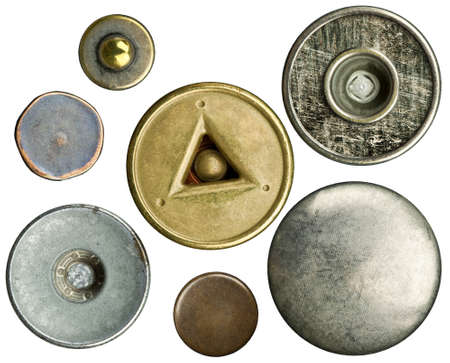 Metal jeans buttons set, isolated photo