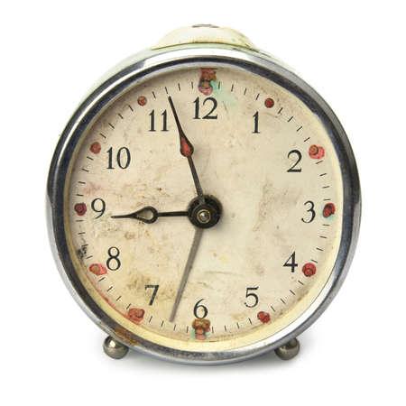 numero nueve: Antiguo roto cosecha despertador, aislado en blanco Foto de archivo