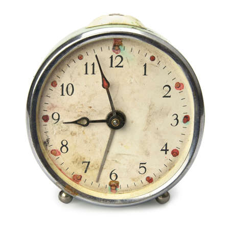 analogs: Old broken vintage alarm clock, isolated on white Stock Photo