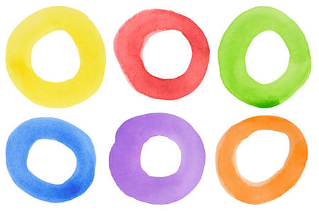 Abstract watercolor hand painted circle shape design elements. Made myself. Stock Photo - 9152308