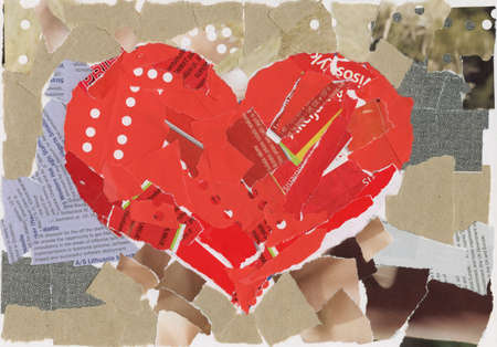 clippings: Heart shape collage background, made of magazines and paper clippings. Made myself.