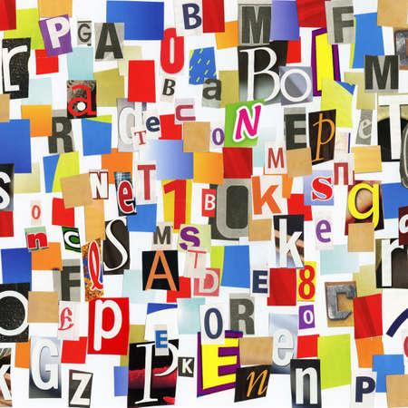 clippings: Collage a mano del diario ABC y recortes de papel de revista. Hice. Foto de archivo