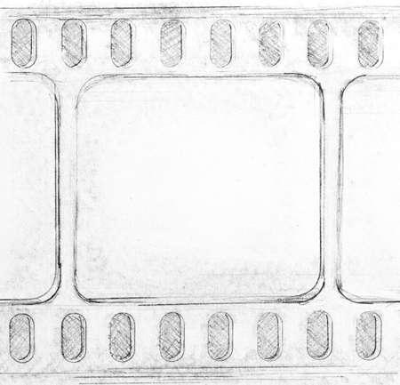 Film strip sketch on paper. Made myself. Stock Photo - 9152277