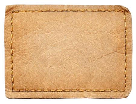 cuir: �tiquette de jeans de cuir blanc