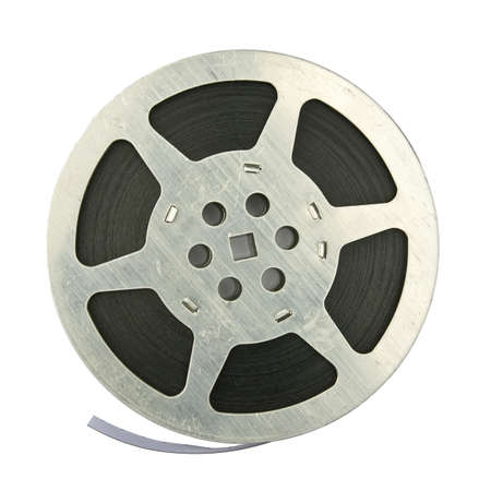 16mm vintage motion picture film reel, isolated on white background photo