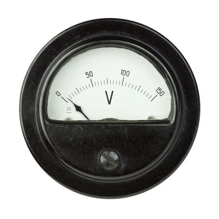 Vintage ancient voltmeter isolated on white background photo