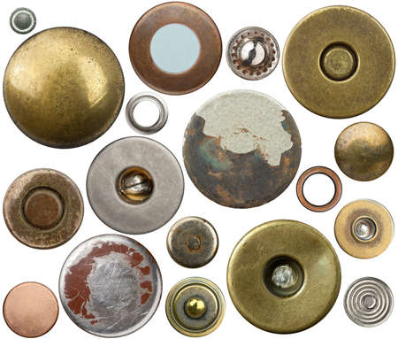 Metal jeans buttons, rivets set. Isolated on white background. photo