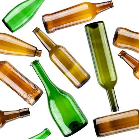 leere flaschen: Nahtlose Muster. Leeren Flaschen auf wei�em Hintergrund.