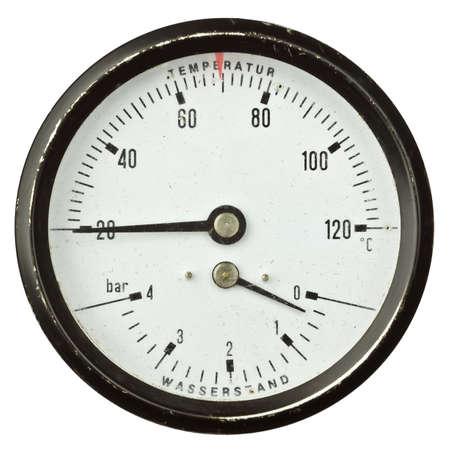 pressure gauge: Old circular industrial temperature and pressure meter, thermometer.