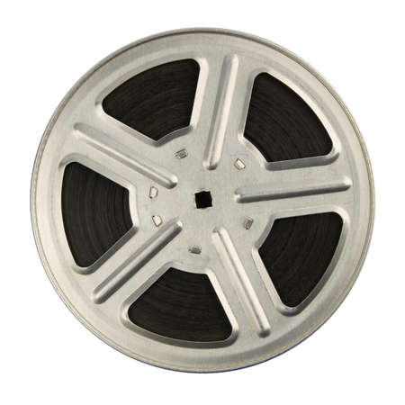video reel: 16 mm motion picture film reel, isolated on white background  Stock Photo