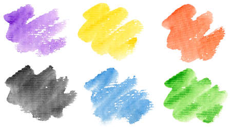 Watercolor hand painted brush strokes set. Isolated on white background. Made myself. Stock Photo - 9505444