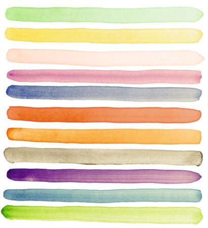 beroerte: Aquarel hand beschilderde penseelstreken, banners. Geïsoleerd op een witte achtergrond. Maakte mezelf. Stockfoto