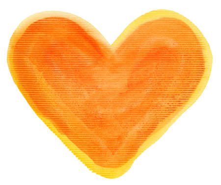 Abstract orange watercolor hand painted artistic heart background. Made myself. photo
