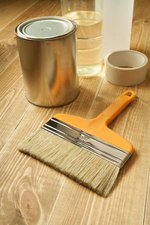 Painting tools on wooden floor. Stock Photo - 9568979