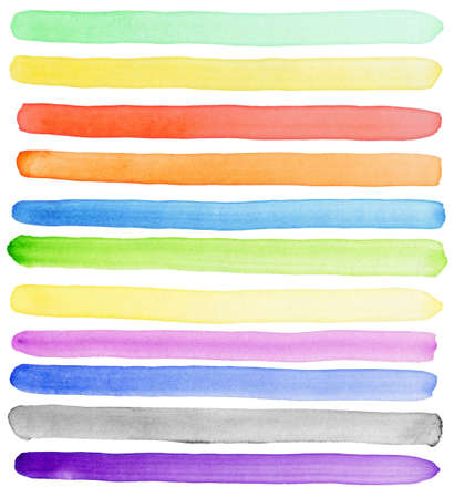 Watercolor hand painted brush strokes, banners. Isolated on white background. Made myself. Stock Photo - 9615126
