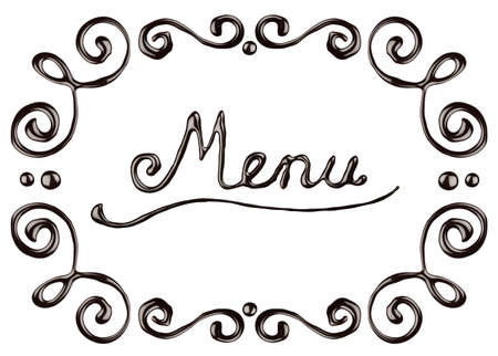 melted: Chocolate menu frame, isolated on white background