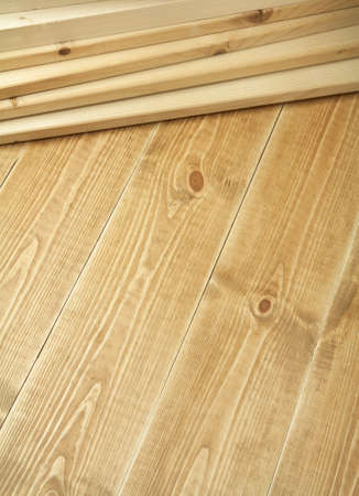 carpenter items: Wood planks on wooden floor