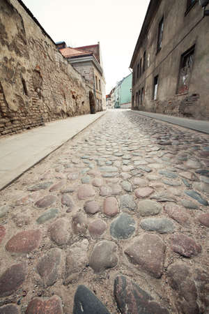 European old town street, wide angle view. photo
