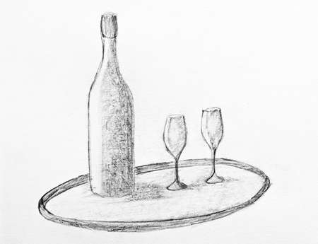 glases: pencil drawing of a wine bottle and two glases