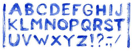 Handwritten blue watercolor alphabet. Vector illustration. Stock Vector - 9904390