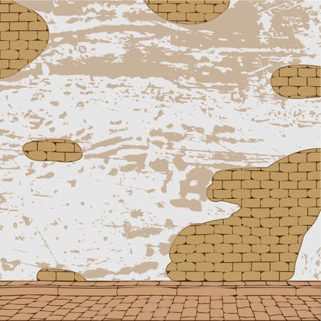 Urban grunge background, aged brick wall texture. Vector format. Vector
