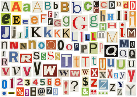 newsprint: Newspaper alphabet with letters, numbers and symbols. Isolated on white Stock Photo