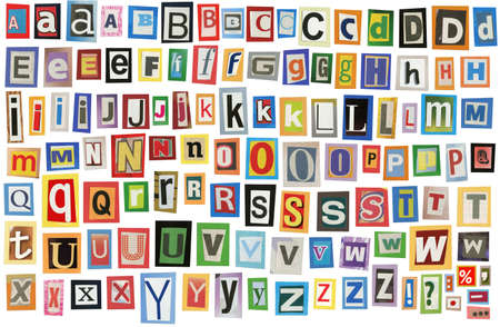 typesetter: Colorful alphabet made of magazine clippings and letters . Isolated on white.