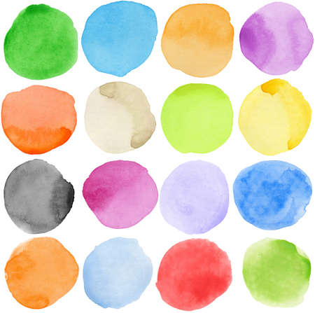 Watercolor hand painted circle shape design elements photo