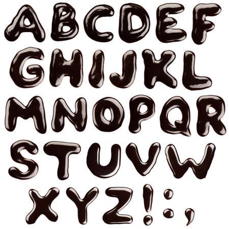 chocolate syrup: Alfabeto escrito con sirope de chocolate, aislado