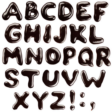 chocolate syrup: Alphabet written with chocolate syrup, isolated
