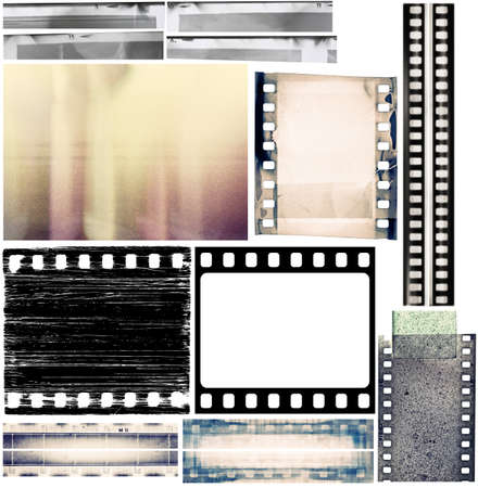 film strip: Design elements set, film borders, textures.