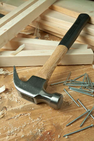 Wooden planks, hammer and nails. Stock Photo - 9904418