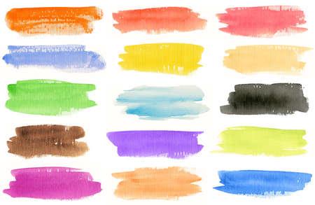 beroerte: Aquarel hand geschilderd set penseelstreken. Geà ¯ soleerd op witte achtergrond. Zelf gemaakt. Stockfoto
