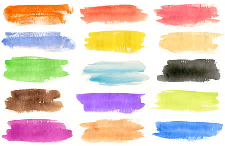 brush strokes: Watercolor hand painted brush strokes set. Isolated on white background. Made myself.