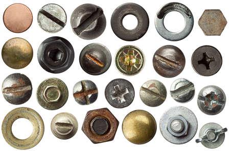 pernos: Cabezas de tornillo y otros detalles de metales.