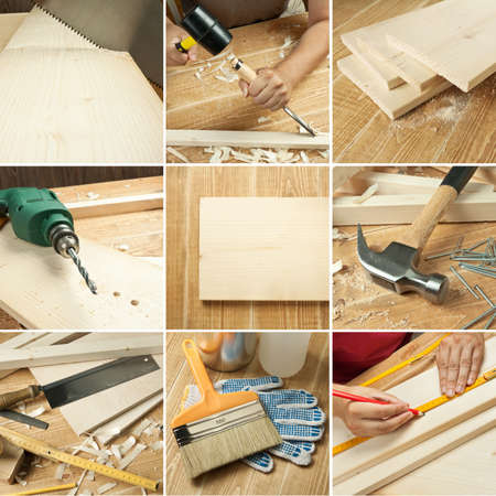 Carpentry tools, wood planks collage photo