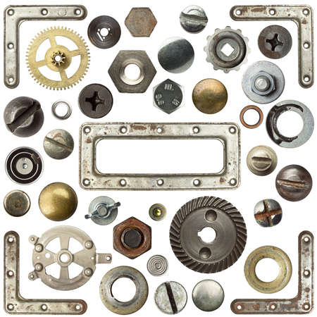 Screw heads, frames and other metal details Stock Photo - 10205089