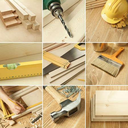 Herramientas de carpintería, tablones de madera collage