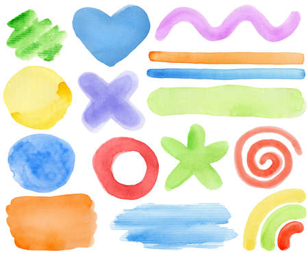 Watercolor hand painted design elements. Made myself. Stock Photo - 10205078