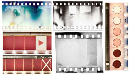 35mm: Vintage film textures set, isolated.