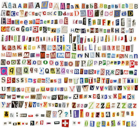 Newspaper, magazine alphabet with letters, numbers and symbols. Isolated on white background. photo