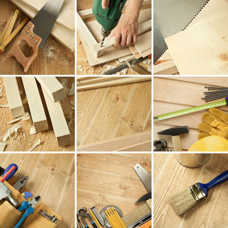 Carpentry tools, wood planks collage Stock Photo - 10205091