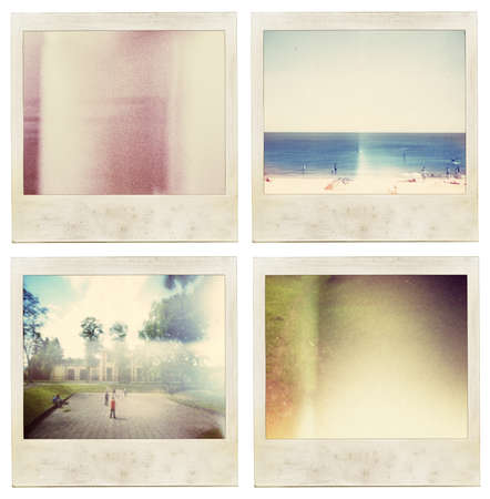 Aged instant film set. May use as vintage photo background. photo