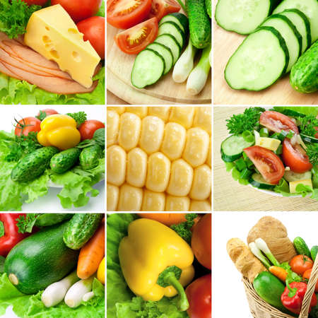 food collage: Vegetable collage. Including cucumbers, tomato, corn, bell pepper and other. Stock Photo