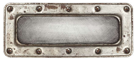 Metal plate texture with screws and frame. photo