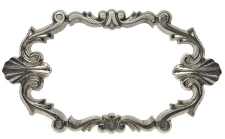 Vintage ornate metal frame, isolated. photo