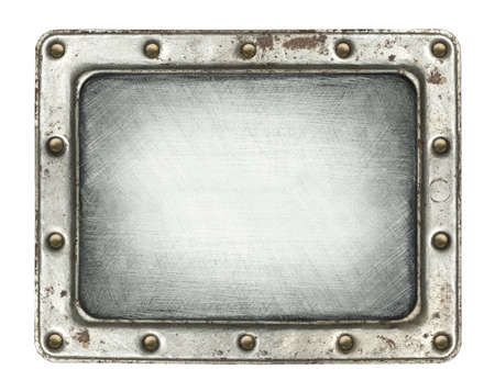 steel head: Metal plate texture with screws and frame.