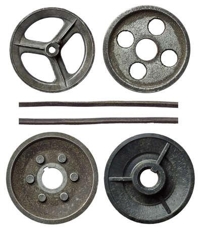 poleas: Antiguos metales poleas con correa.