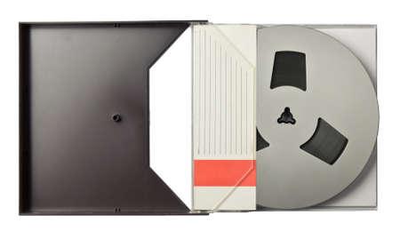 Vintage magnetic audio reel in a blank package. photo